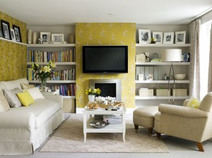 yellow tv lounge feature wall