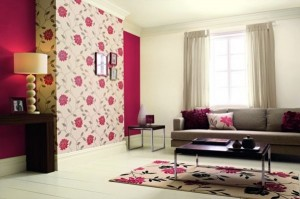 Pink Floral Feature wall on Chimney Breast
