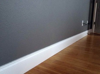 White Satinwood Skirting Board and Grey Matt Walls