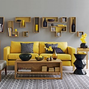 grey and yellow interior