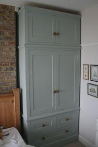 grey hand painted solid wood wardrobe