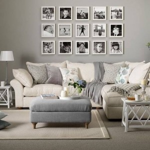 grey monotone interior design and photo frames