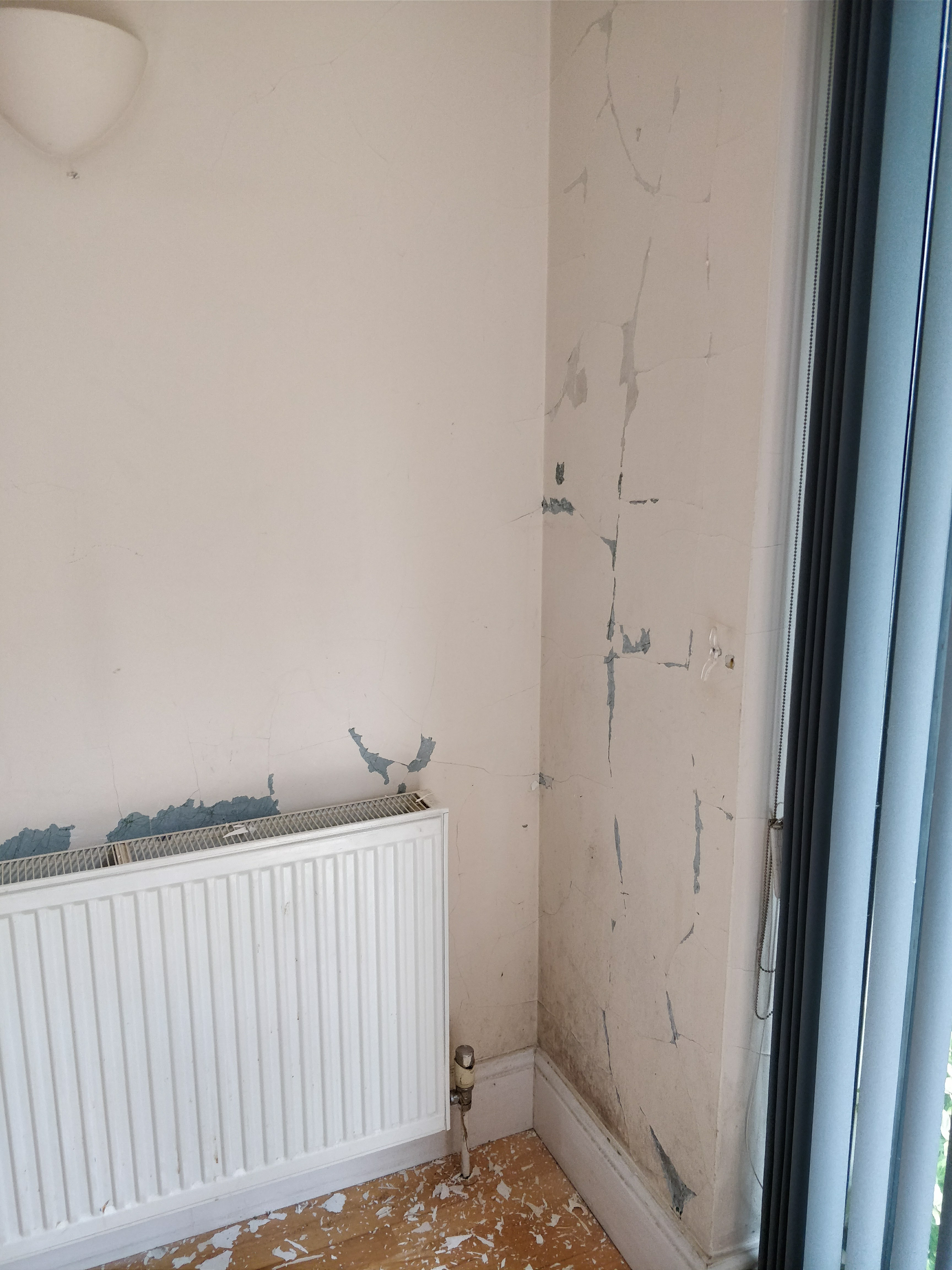 Poor condition walls need to be taken back to plaster and filled.