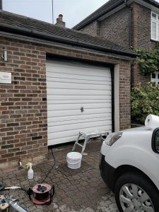 Garage door about to be painted on cassiobury estate in watford